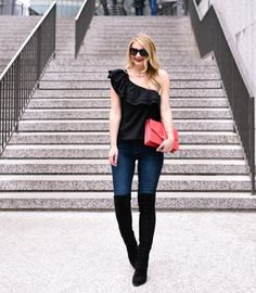 a shoulder black top thigh high boots