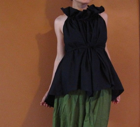 black ruffle tunic top green plaid culottes