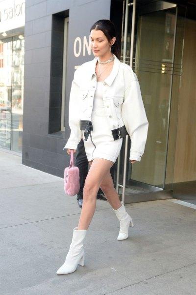 leather ankle boots large white denim jacket
