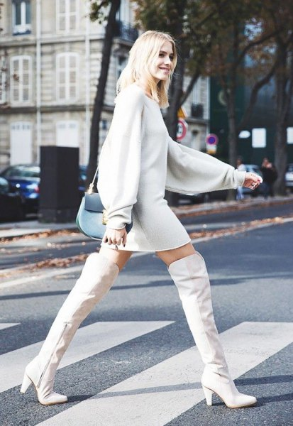 over knee-white leather boots