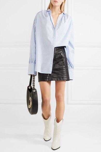 blue and white striped boyfriend shirt black leather skirt