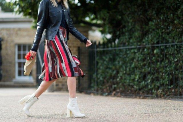 black leather jacket knee length skirt