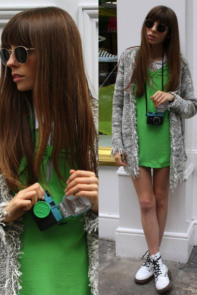 white ankle boots green mini dress gray cardigan