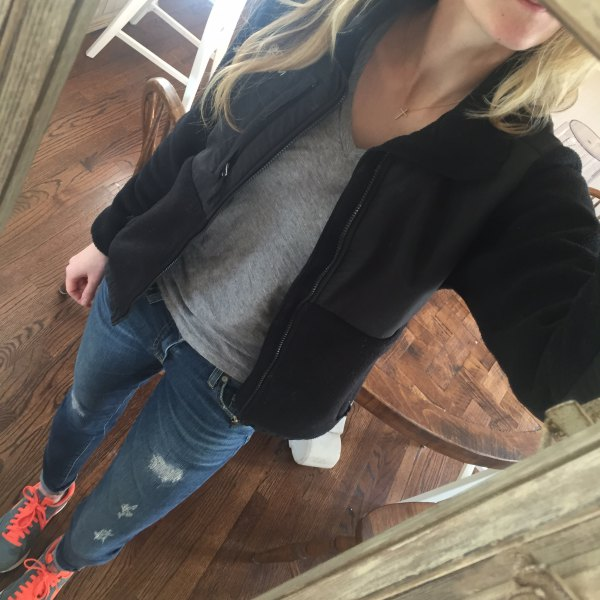 black fleece jacket gray tee ripped jeans