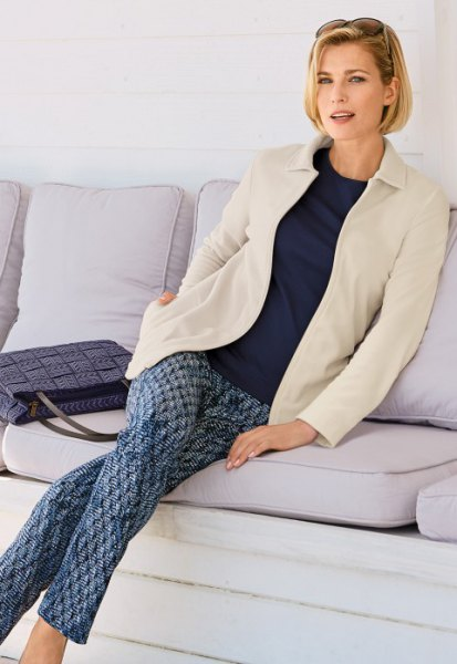 vita fleece blazer print pants