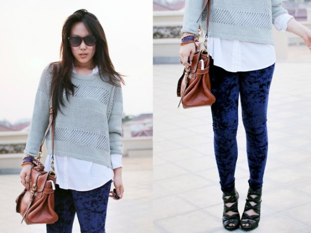 blue velvet leggings gray cropped sweater