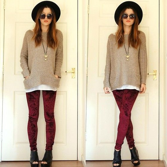 burgundy leggings gray comfy knitted sweater