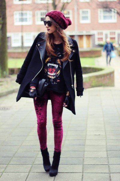 red velvet leggings black leather