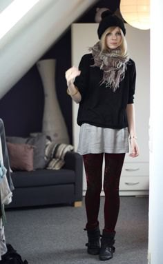 black sweater over gray big tee
