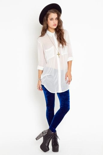 long white chiffon shirt blue velvet leggings