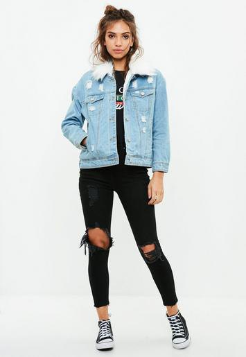 all black outfit denim jacket