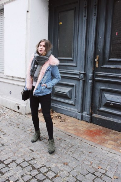 fur collar denim jacket suede boots