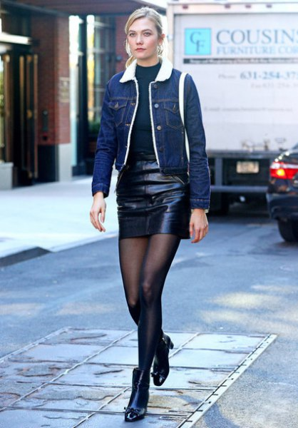 dark blue denim jacket black leather skirt