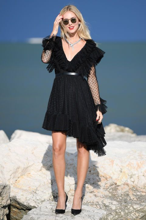 black ruffle dress asymmetrical