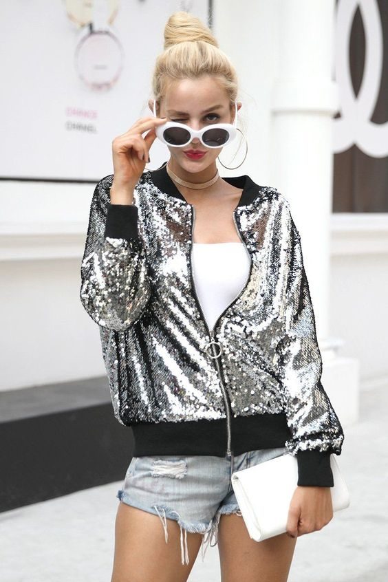 sequin bomber jacket silver