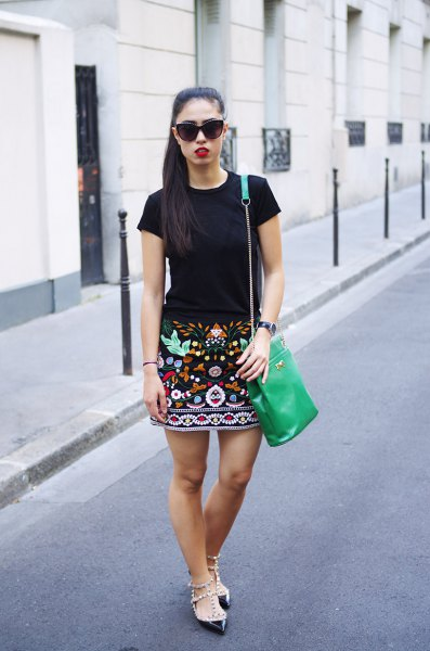 embroidered skirt black t-shirt
