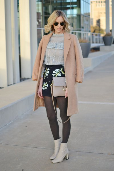 crepe wool coat knitted sweater outfit