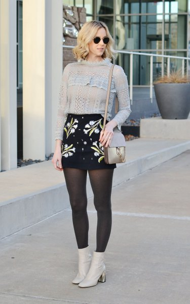 knitted sweater with high waist embroidered skirt