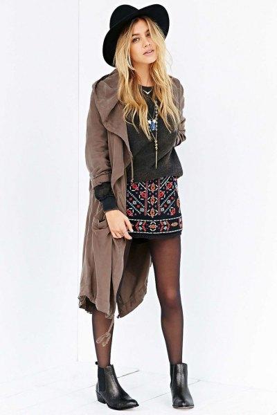 black embroidered mini skirt trench coat felt hat