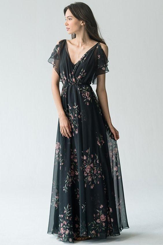 Black chiffon dress floral