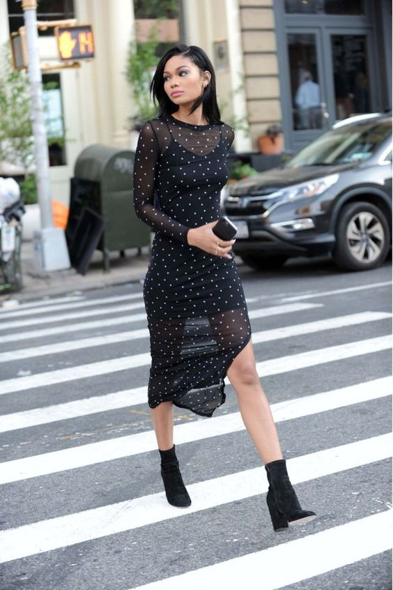black chiffon dress long clean