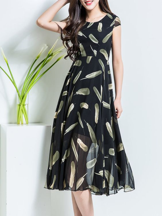 black chiffon dress