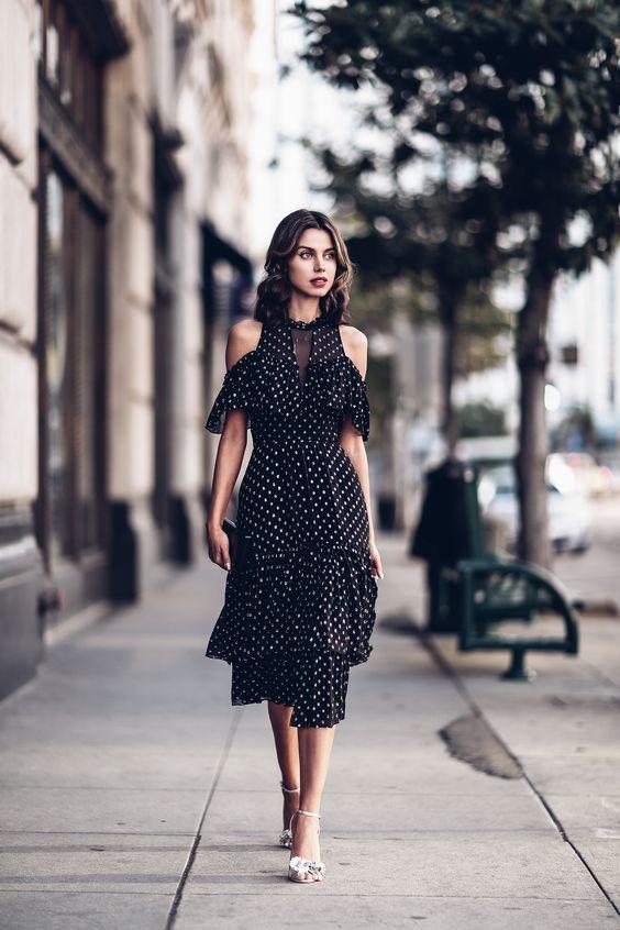 black chiffon dress dots