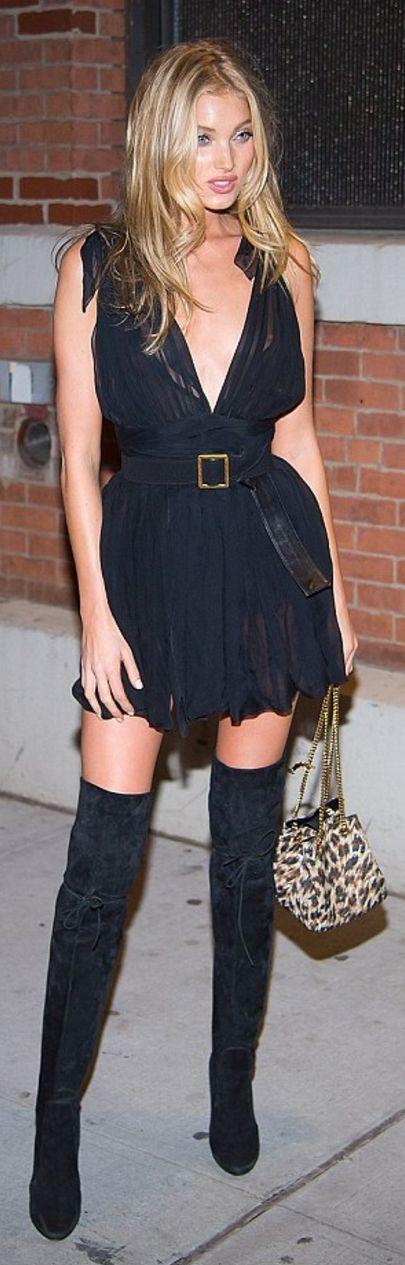 black chiffon dress thigh high boots