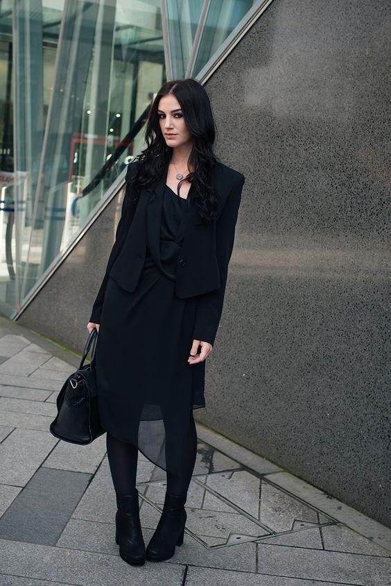 black chiffon dress completely black