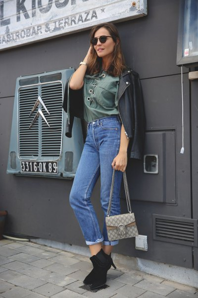 gray lace shirt mom jeans leather jacket