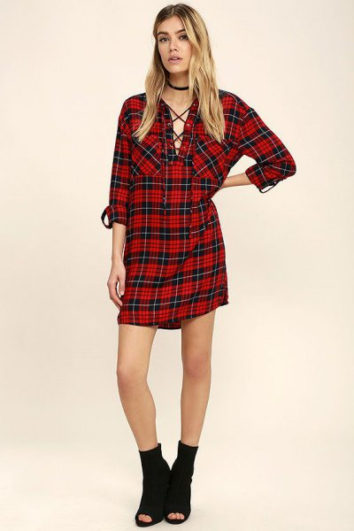 black and red checkered boyfriend shirt dress