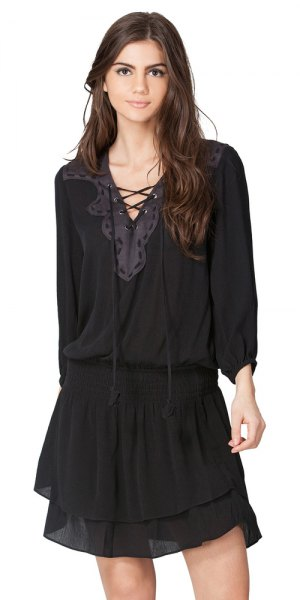black lace shirt chiffon mini skirt