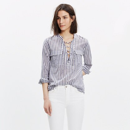 gray and white striped lace shirt white jeans