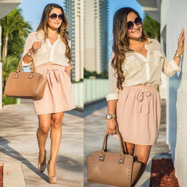 white chiffon blouse with high waist pink skirt