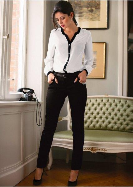white and black chiffon blouses slim pants