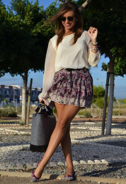 pure sleeve white chiffon blouse floral skirt
