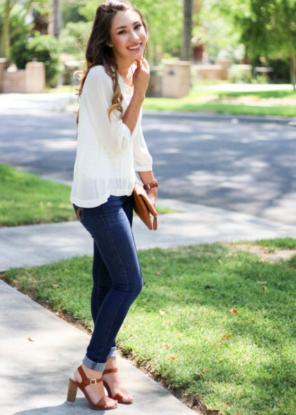 skinny jeans blouse clean overlay