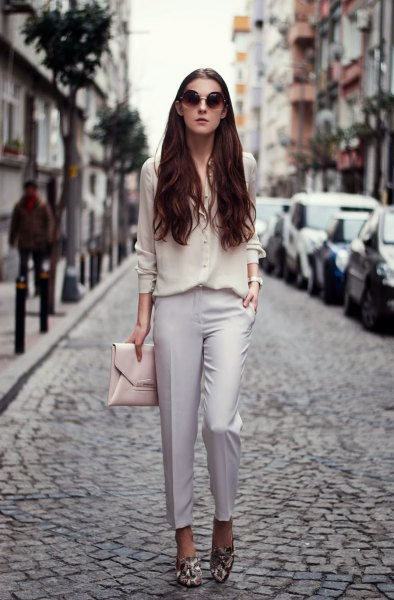 chiffon shirt light gray chino flower loafers