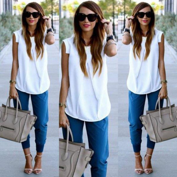sleeveless chiffon blouse denim joggers