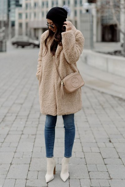 camel teddy skirt white pointed toe heels