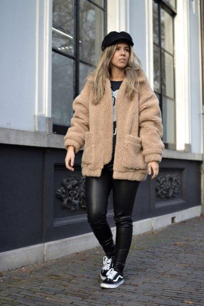 camel teddy jacket black leather pants