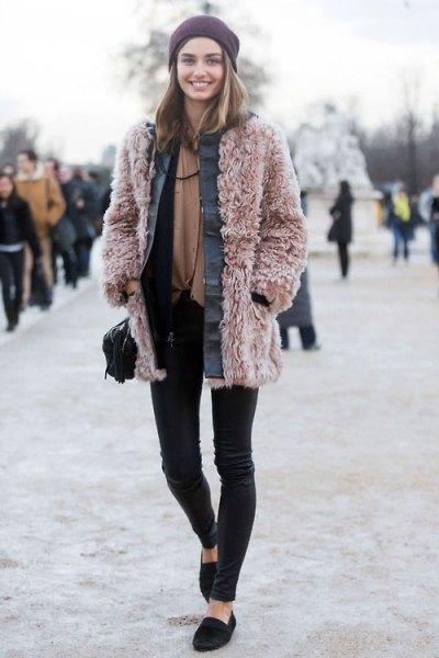 pink teddy jacket black skinny pants