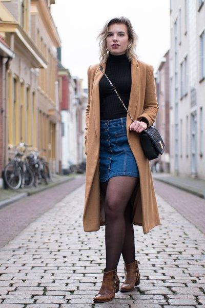 camel with long coat denim skirt