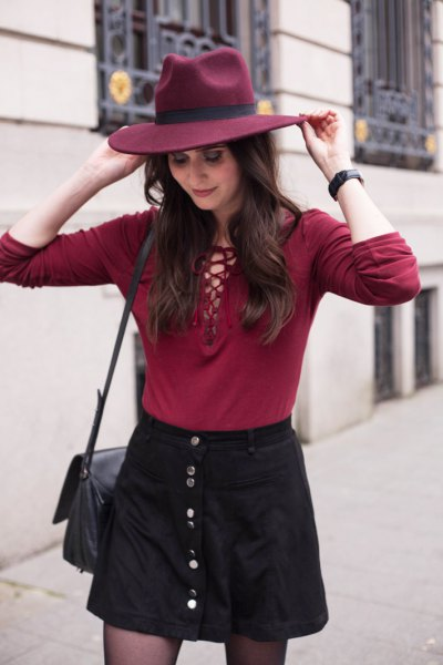 red tie chess top black button up skirt