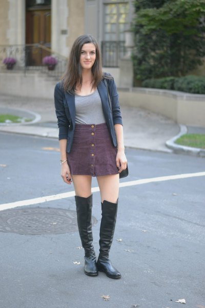 gray button up skirt over knee leather boots