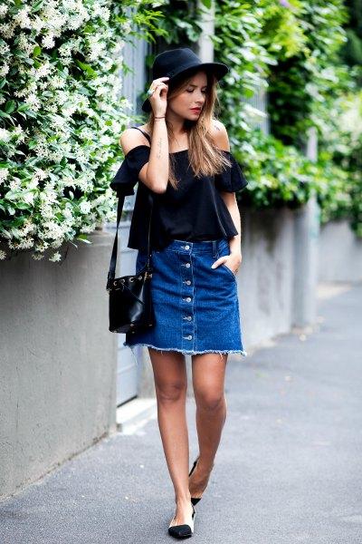 denim button up skirt of shoulder black blouse