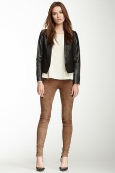 black leather jacket brown suede skinny pants