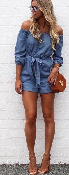 of shoulders Romper brown open toe heels