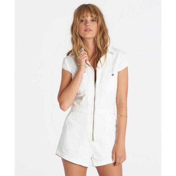 zipper front white denim romper
