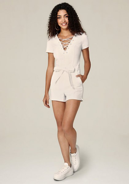 lace with white denim belt